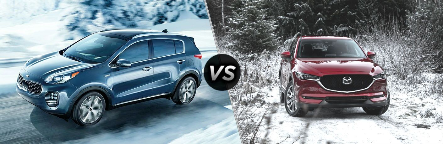2019 Kia sportage and 2019 Mazda cx-5 on split screen image