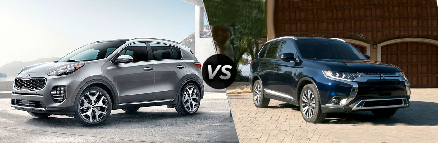 2019 Kia Sportage Vs 2019 Mitsubishi Outlander split screen comparison