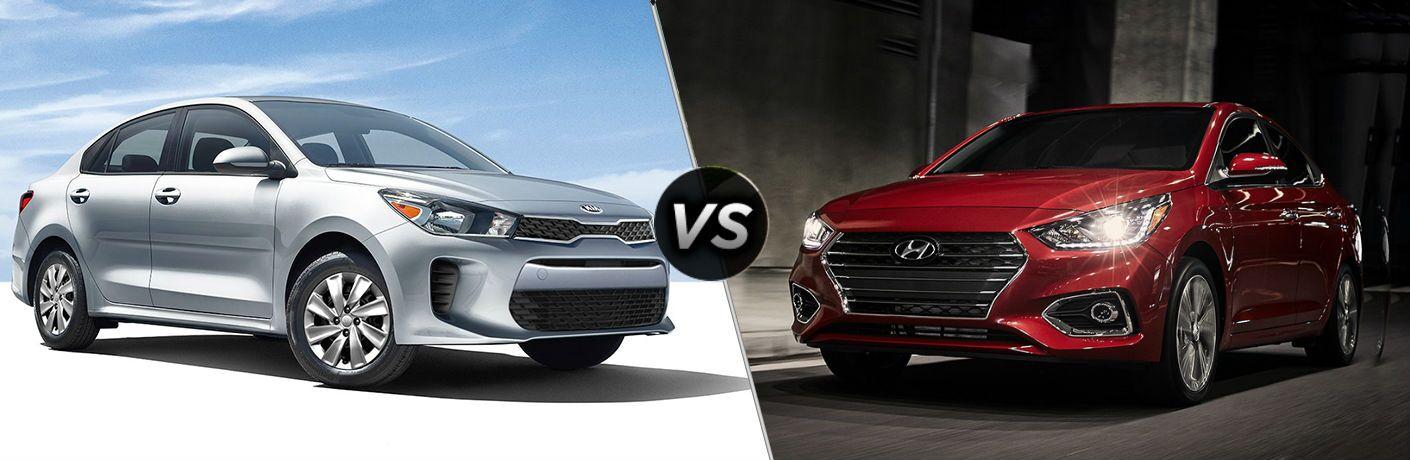 2019 Kia Rio Vs. 2019 Hyundai Accent split screen image