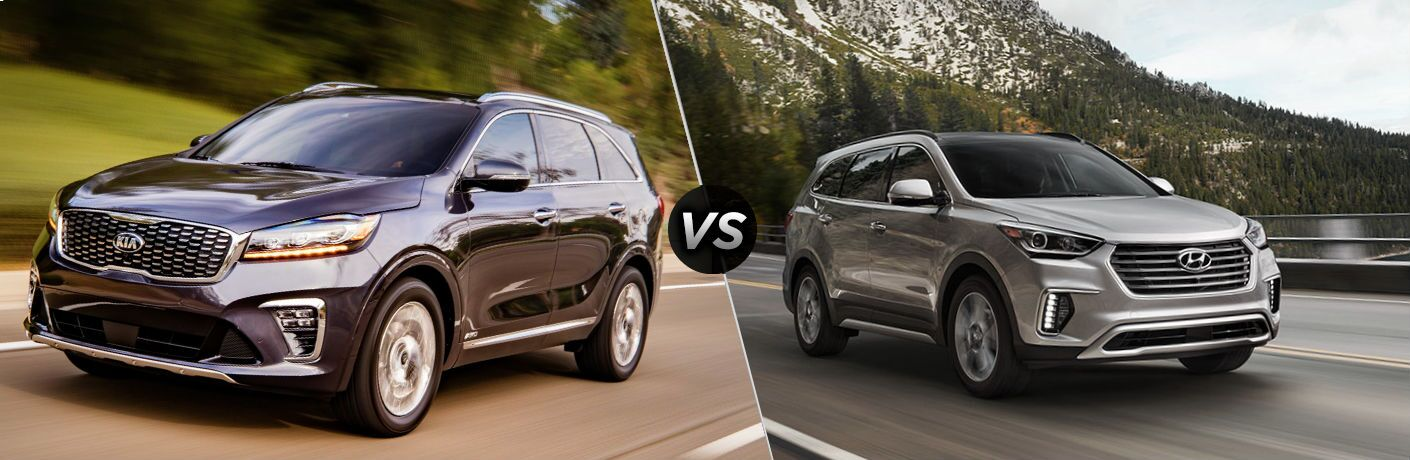 2019 Kia Sorento Vs 2018 Hyundai Santa Fe Split Screen Comparison Image