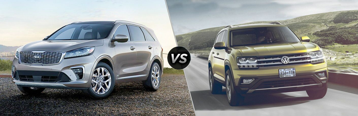 2019 Kia Sorento Vs. 2019 VW Atlas split screen image showing two side by side