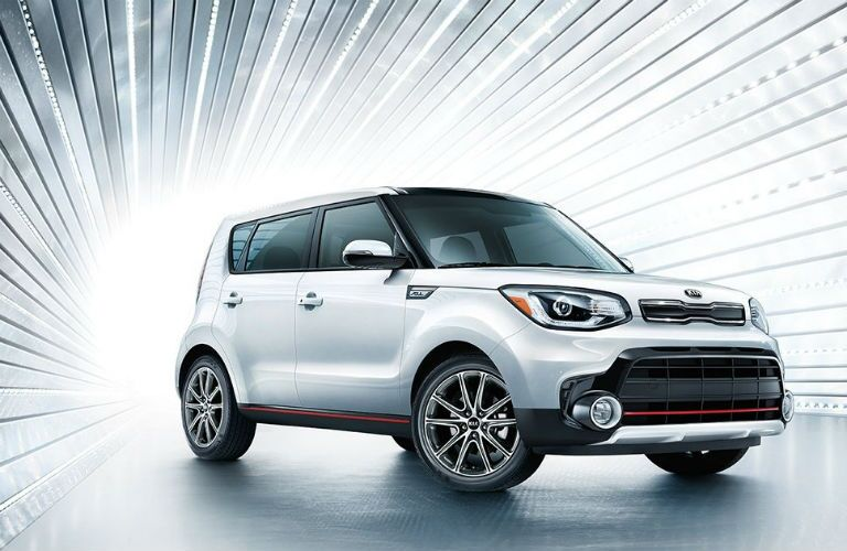silver 2019 kia soul with stylized lines emanating from behind