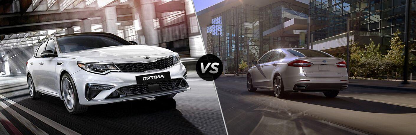 White 2020 Kia Optima and silver 2020 Ford Fusion