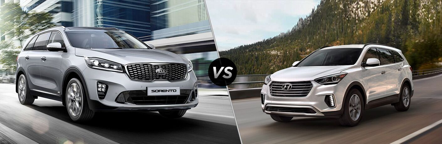 side by side comparison of 2020 Kia Sorento Vs. 2019 Hyundai Santa Fe XL