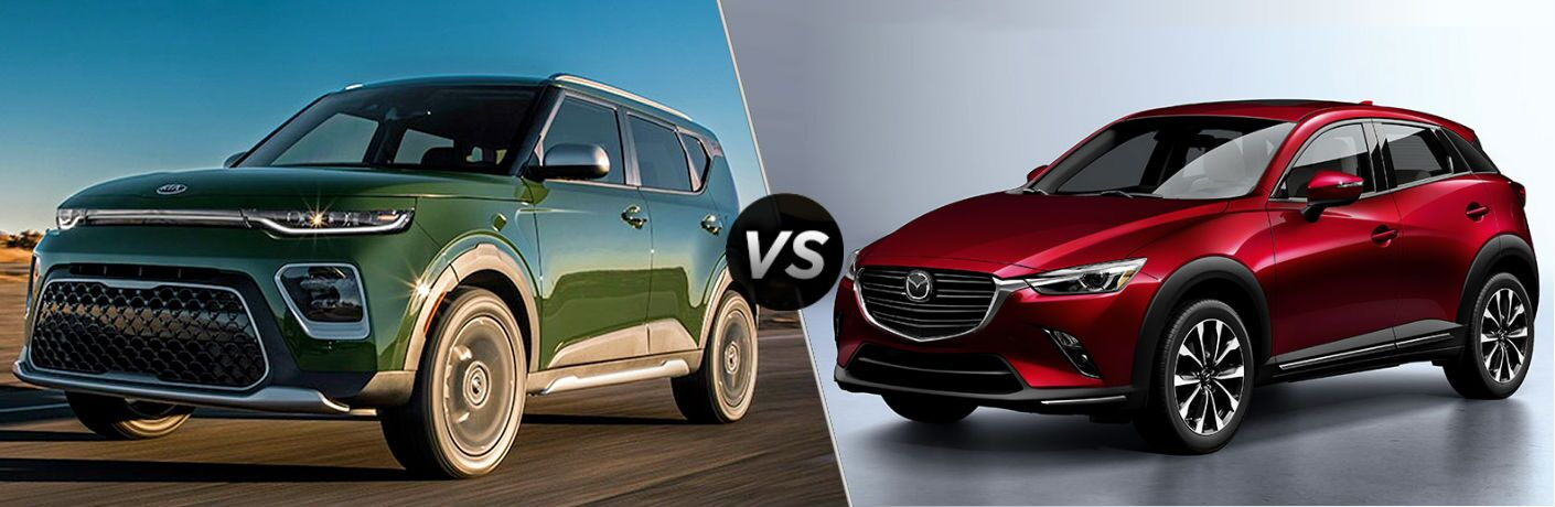 split screen comparison between 2020 Kia Soul Vs. 2019 Mazda CX-3
