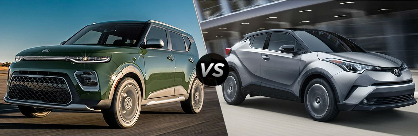2020 Kia Soul Vs. Toyota C-HR split screen image comparison