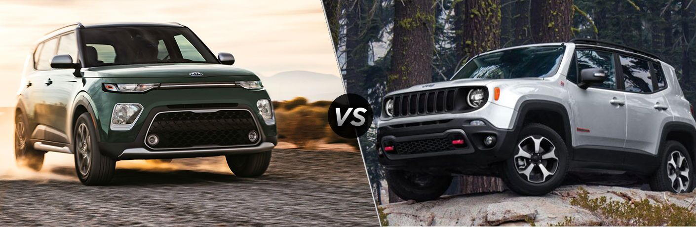 Green 2020 Kia Soul and silver 2020 Jeep Renegade