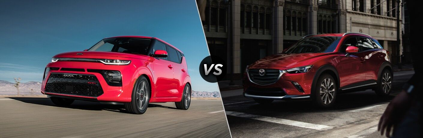 Red 2020 Kia Soul and red 2020 Mazda CX-3