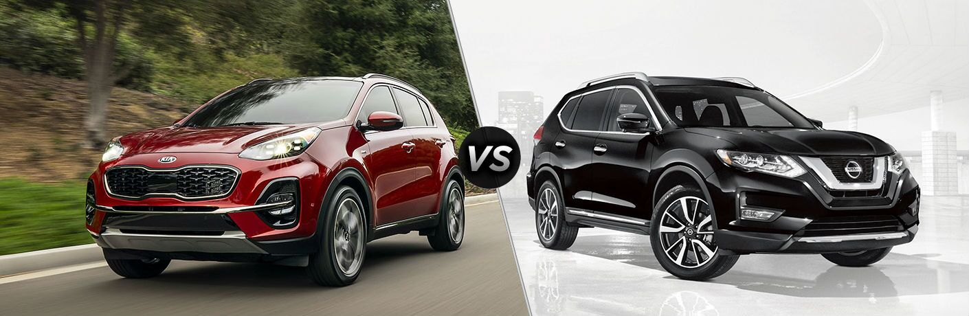 2020 kia sportage and 2019 nissan rogue on split screen