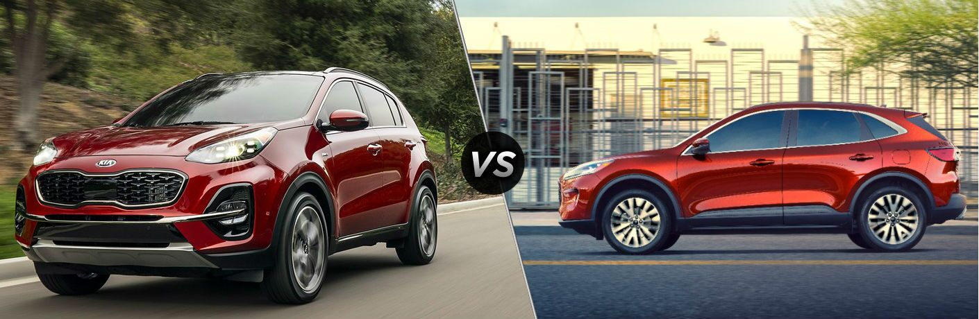 Red 2020 Kia Sportage and red 2020 Ford Escape