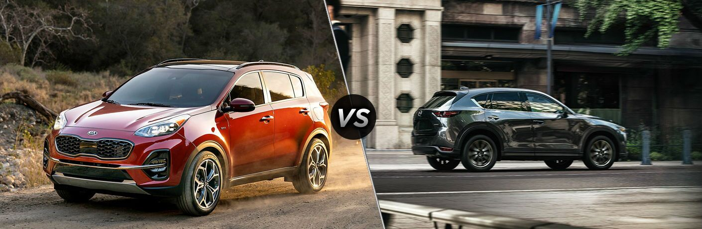 Red 2020 Kia Sportage and grey 2020 Mazda CX-5