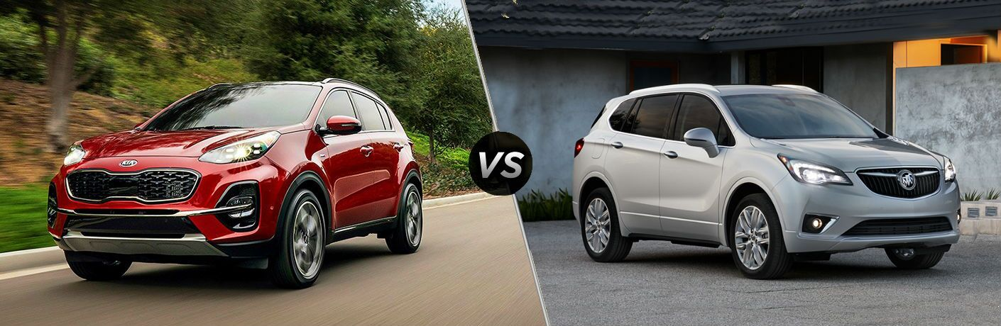 split screen comparison between 2020 Kia Sportage Vs. 2019 Buick Envision