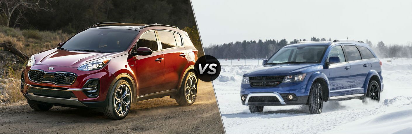 Red 2020 Kia Sportage and blue 2020 Dodge Journey