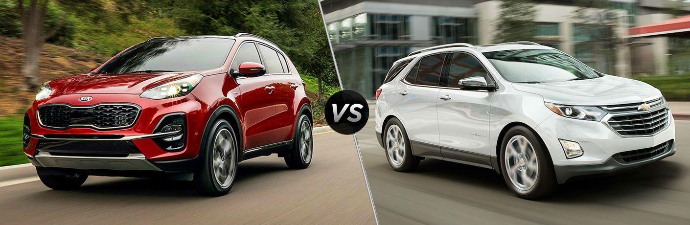 split screen comparison between 2020 Kia Sportage Vs. 2020 Chevrolet Equinox