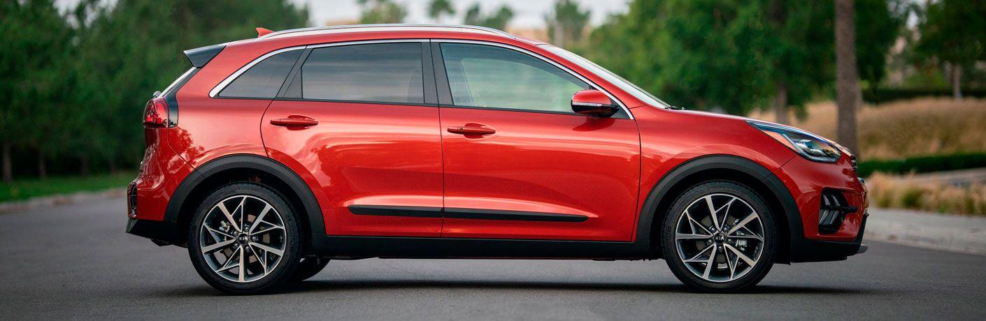 Side view of red 2020 Kia Niro