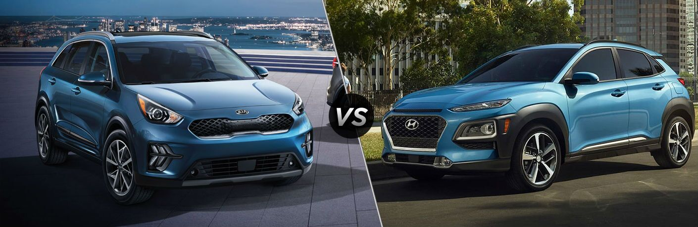 Blue 2020 Kia Niro and blue 2020 Hyundai Kona