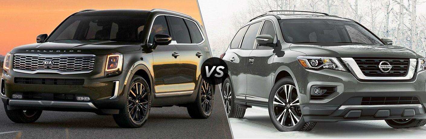 Dark green 2020 Kia Telluride and grey 2020 Nissan Pathfinder
