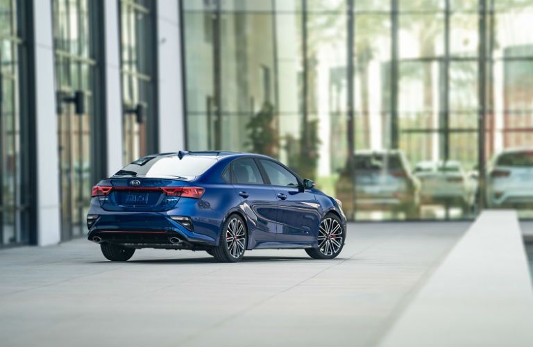 rear three quarter shot of 2020 kia forte gt