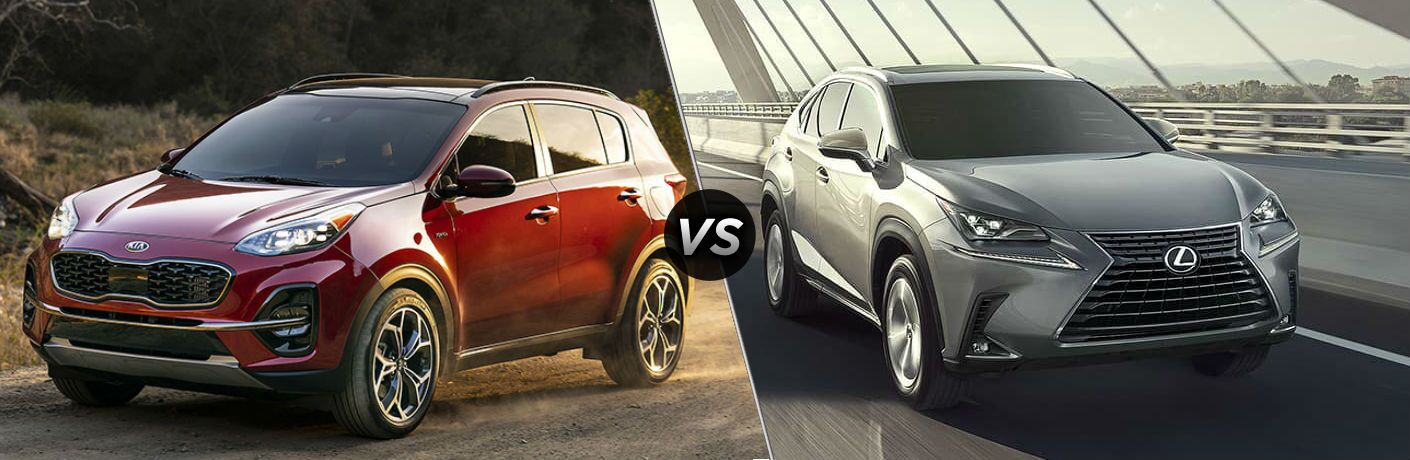 Red 2020 Kia Sportage and silver 2020 Lexus NX