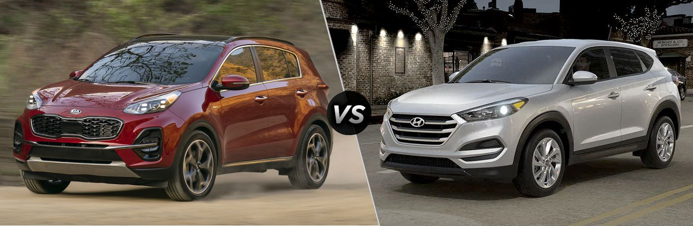 2020 Kia Sportage Vs. 2019 Hyundai Tucson split screen comparison