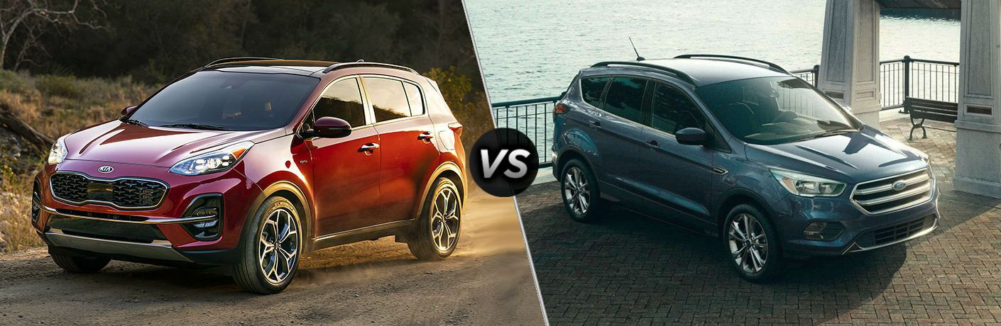 side by side comparison of 2020 kia sportage and 2019 ford escape