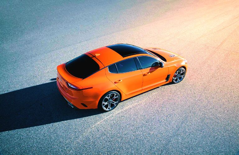 Overhead view of orange 2019 Kia Stinger