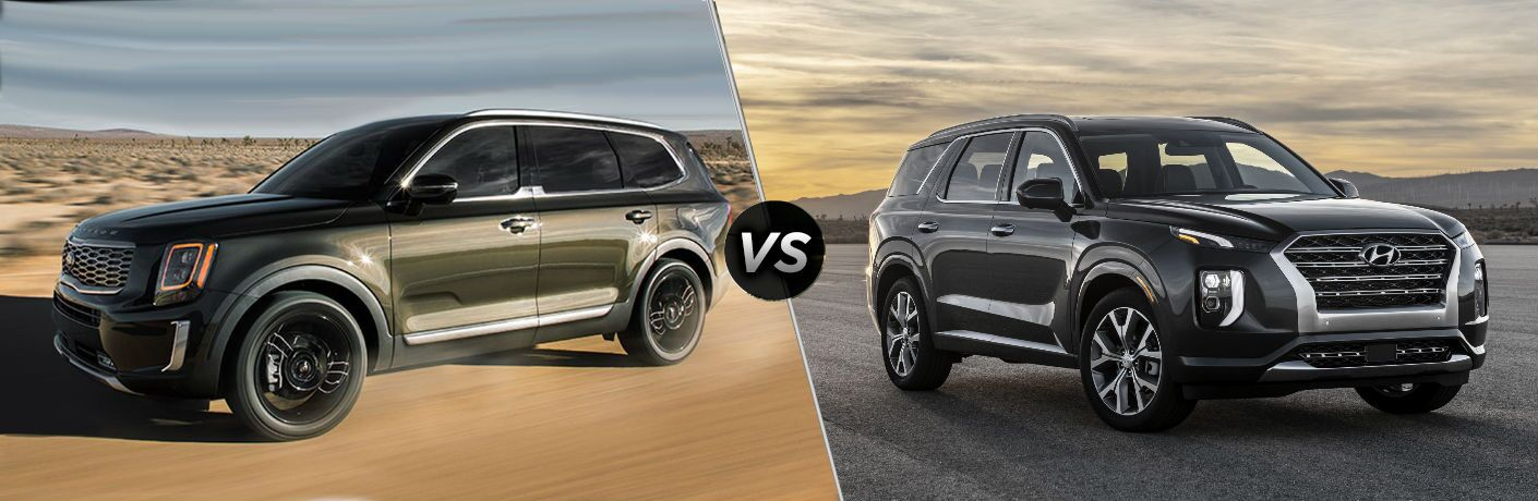 2020 Kia Telluride Vs. 2020 Hyundai Palisade split screen image
