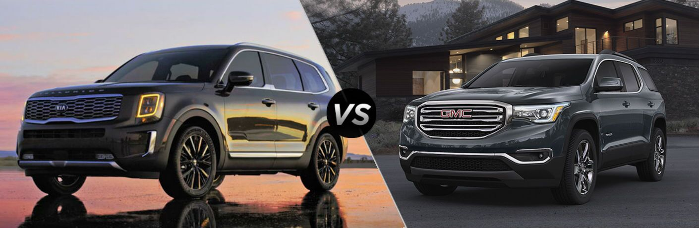 2020 kia telluride vs 2019 gmc acadia split screen image
