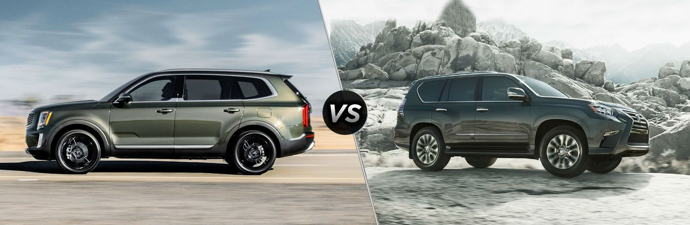 2020 Kia Sportage Vs. 2019 Lexus GX split screen image