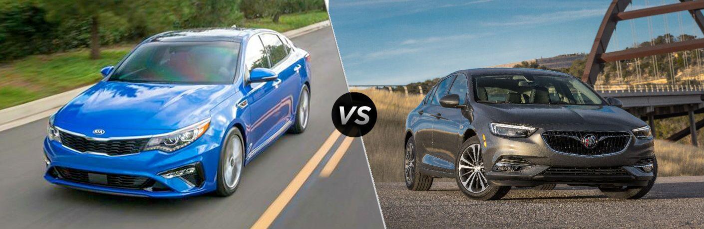 split screen image comparing 2020 Kia Optima Vs. 2020 Buick Regal Sportback