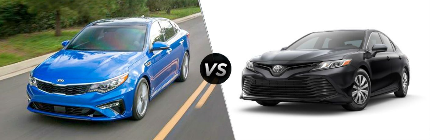 split screen comparison of 2020 Kia Optima Vs. 2020 Toyota Camry
