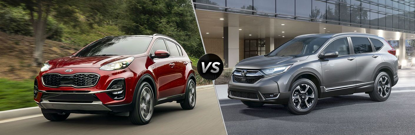 mashup image of 2020 kia sportage and 2019 honda cr-v