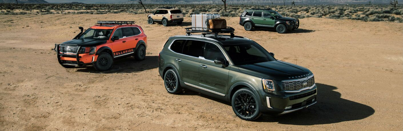 2020 Kia Telluride lineup in the desert