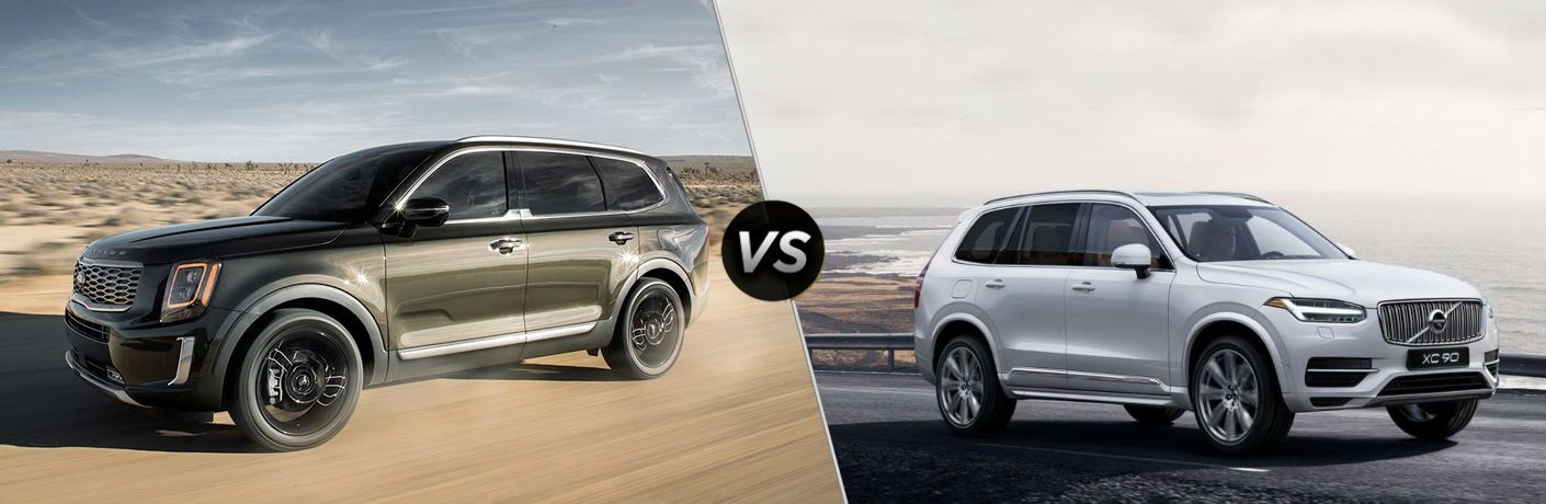 comparison page between 2020 Kia Telluride Vs. Volvo XC90