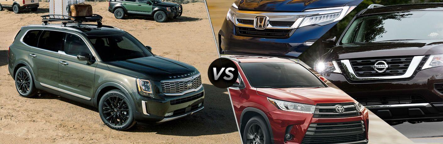 split screen collage comparing 2020 Kia Telluride Vs. Full-Size SUV Competition