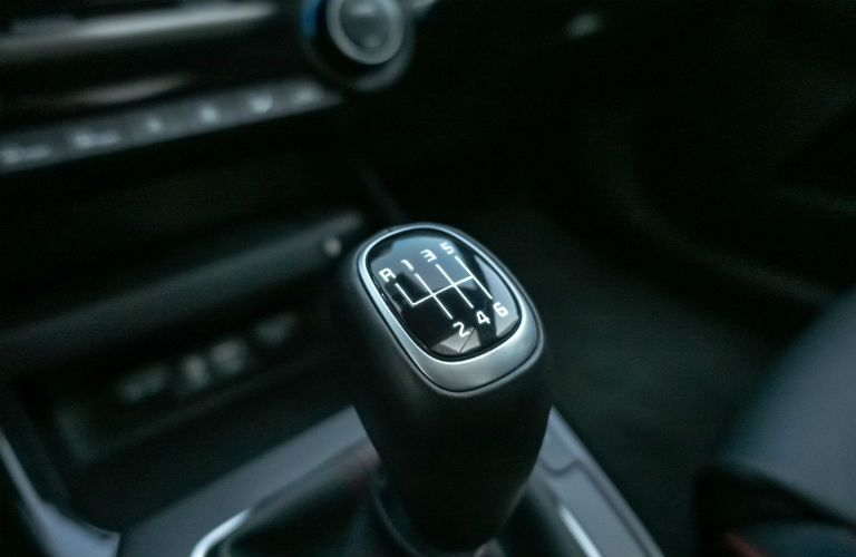 Closeup of gear shift in 2021 Kia Forte
