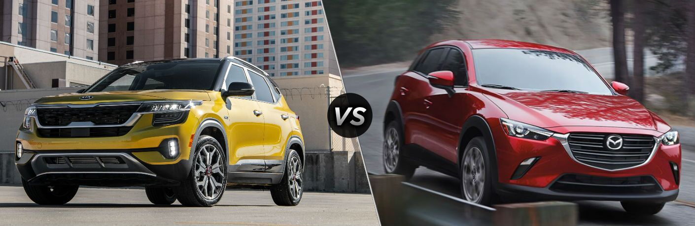 Yellow 2021 Kia Seltos and red 2020 Mazda CX-3