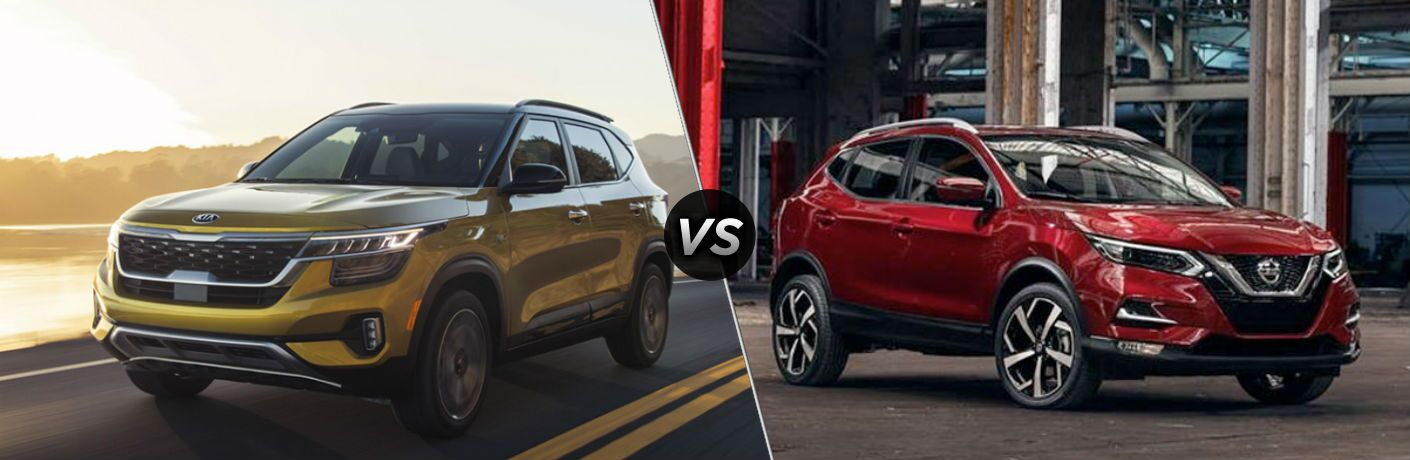 Yellow 2021 Kia Seltos and red 2020 Nissan Rogue Sport