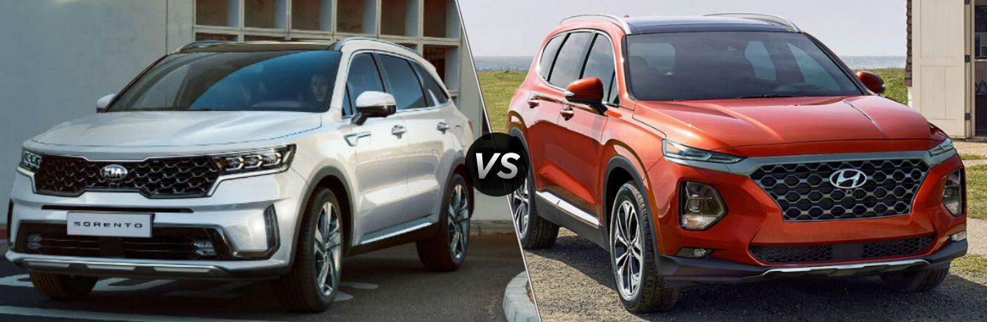 Silver 2021 Kia Sorento and orange 2020 Hyundai Santa Fe