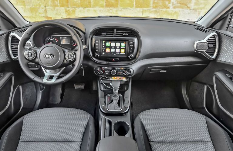 Steering wheel and dashboard in 2021 Kia Soul