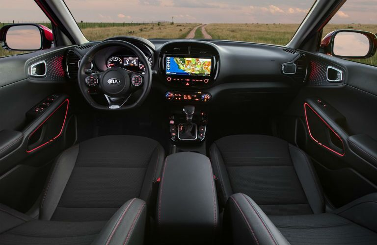 Black and red interior in 2021 Kia Soul