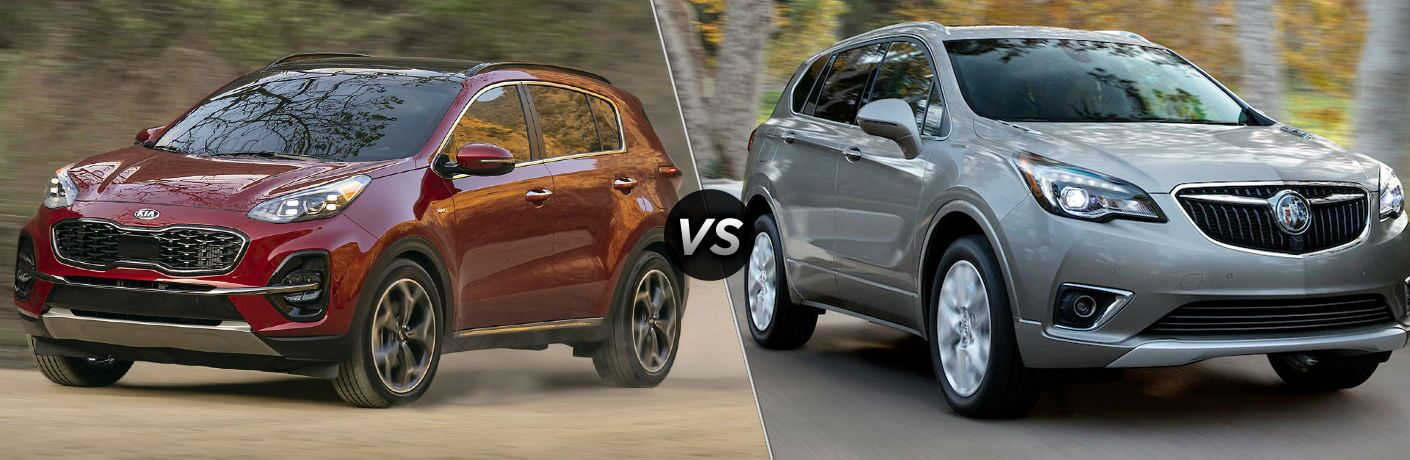 Red 2021 Kia Sportage and gray 2020 Buick Envision