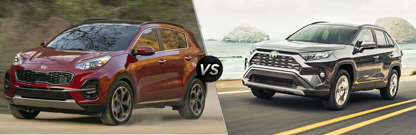 Red 2021 Kia Sportage and grey 2020 Toyota RAV4