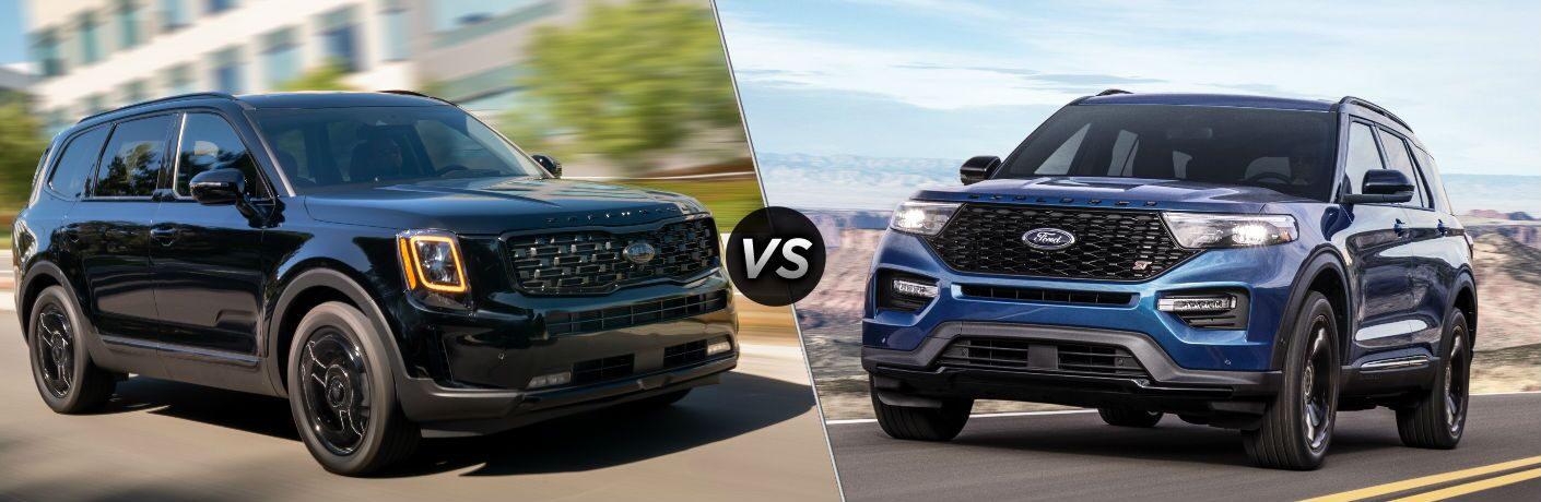 Black 2021 Kia Telluride and blue 2020 Ford Explorer