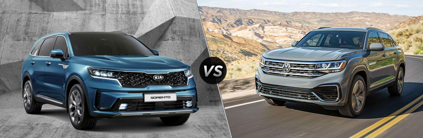 Blue 2021 Kia Sorento and grey 2020 Volkswagen Atlas Cross Sport