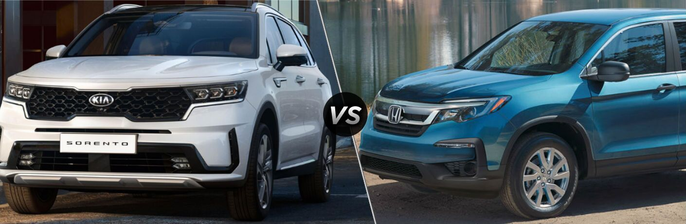 White 2021 Kia Sorento and blue 2020 Honda Pilot