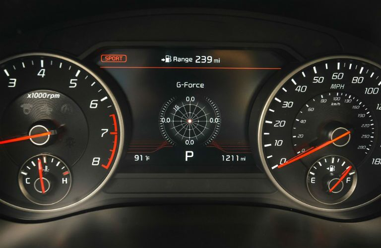 Dashboard gauges in 2021 Kia Stinger