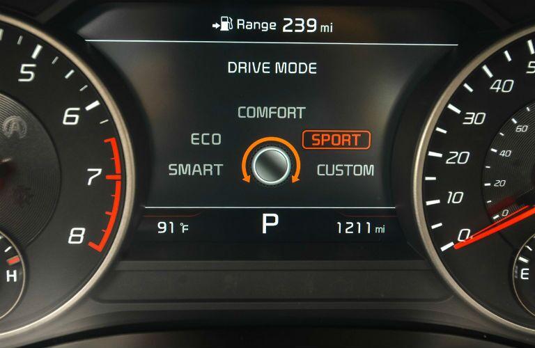 Closeup of Drive Mode screen in 2021 Kia Stinger