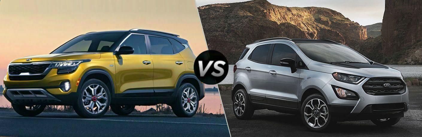 split screen comparison of 2021 Kia Seltos Vs. 2020 Ford EcoSport