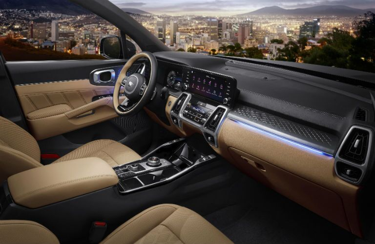 Interior view of 2021 Kia Sorento